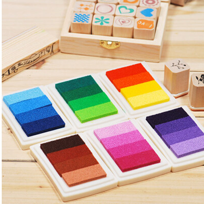 6 Colors Homemade DIY Gradient Color ink Pad Multicolour Inkpad Stamp Decoration Fingerprint Scrapbooking Accessories the new diy 6 6cm rubber stamp inkpad inkpad octagonal color ink finger painting 22 colors