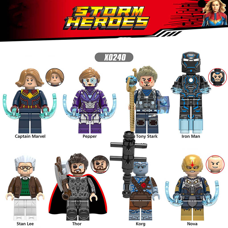 LegoINGlys Building Blocks Super Heroes Iron Man Pepper Korg Nova Thor Aquaman Orm Figures Toys For Children Gifts