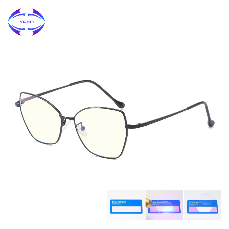 VCKA Anti-Blue Rays Glasses Woman Eyeglasses Computer  Gaming Cat's Eye Alloy Blocking Radiation Resistant Man Reading Eyewear