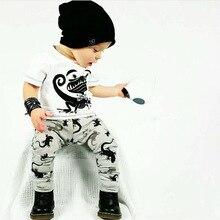 2016 New summer baby boy clothes set cotton Fashion letters printed T-shirt+trousers 2pcs baby boys clothing set infant 2pcs