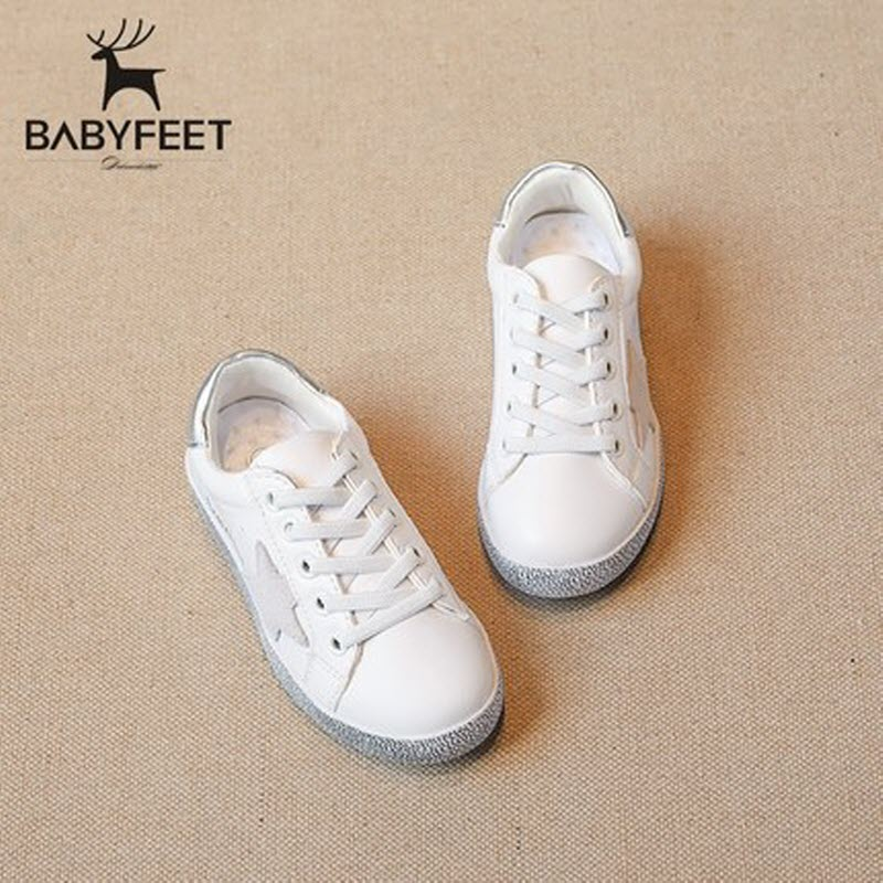 2017 Babyfeet Children kids shoes White PU Leather Stars baby Girl Boy Sneakers tenis infantil chaussure enfant calzado infantil 2016 brand children shoes bebe leather flower patter spliced shoelace girls baby first walkers sneakers shoes tenis bebe kids