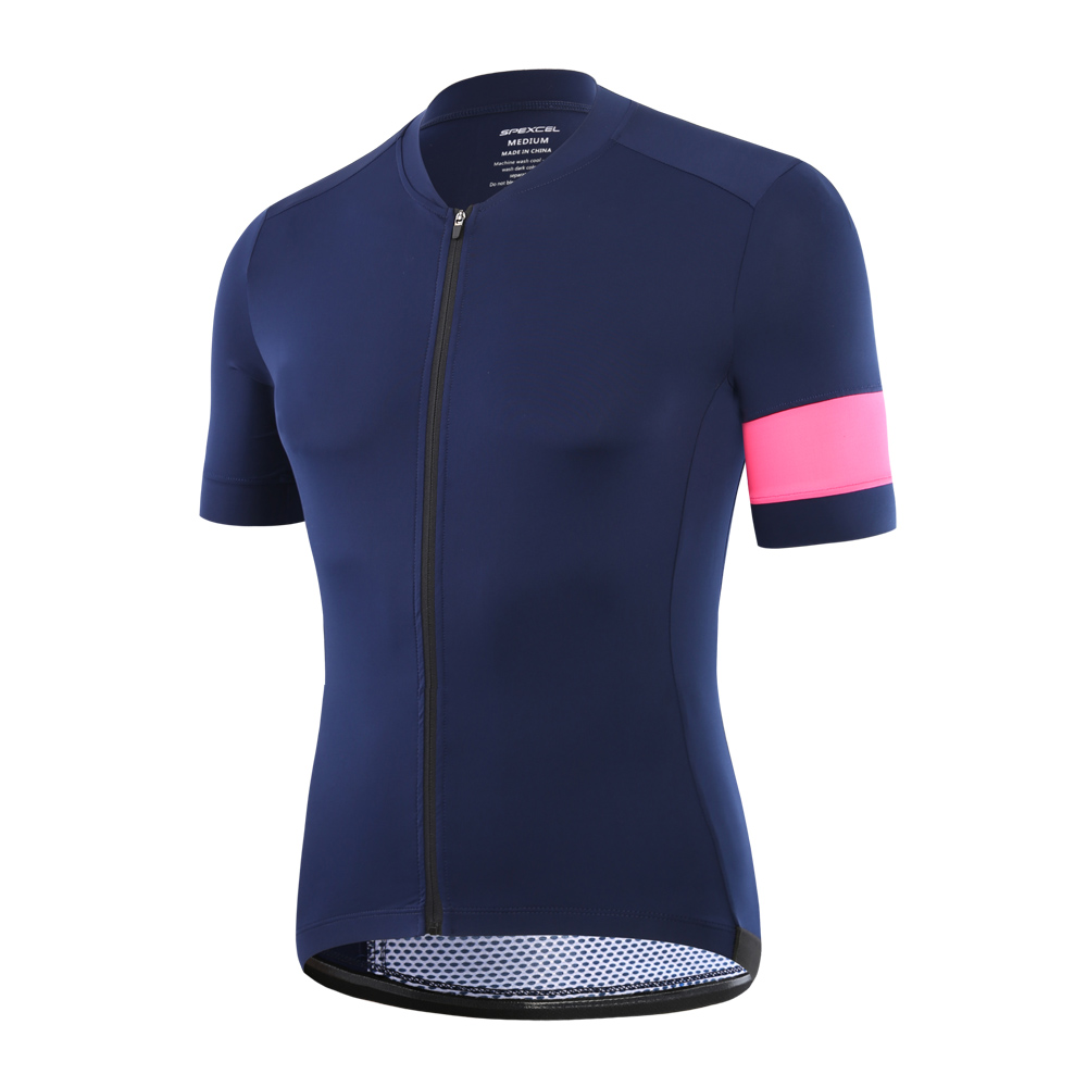 2017 SPEXCEL navy with High-Vis Pink Pro Team Short Sleeve cycling jerseys for men or women cool cycling gear top quality
