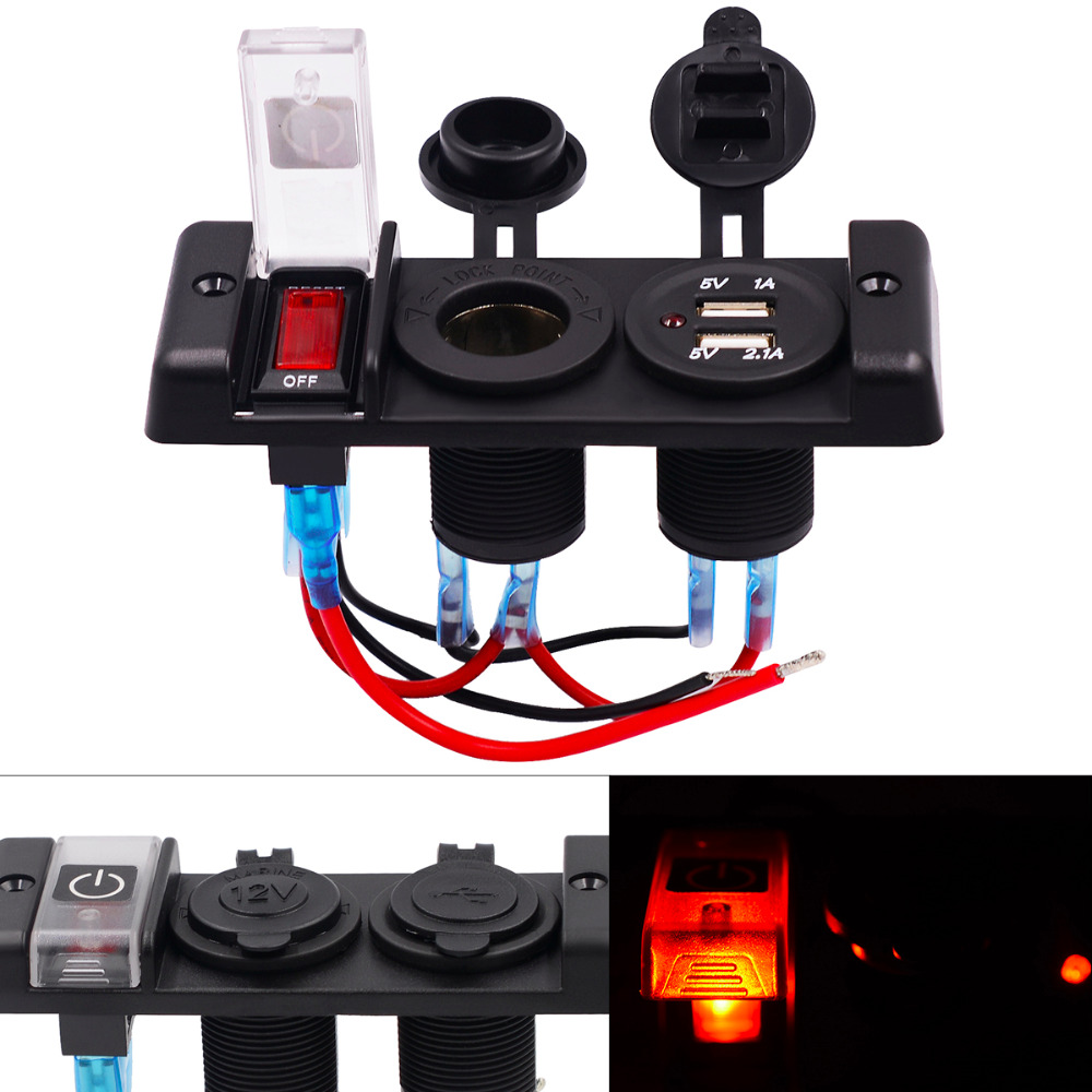 12V 16A Dual USB Auto Car Power Charger Splitter Adapter Three Bit Switch Panel Automobile Cigarette Lighter Socket Red Light