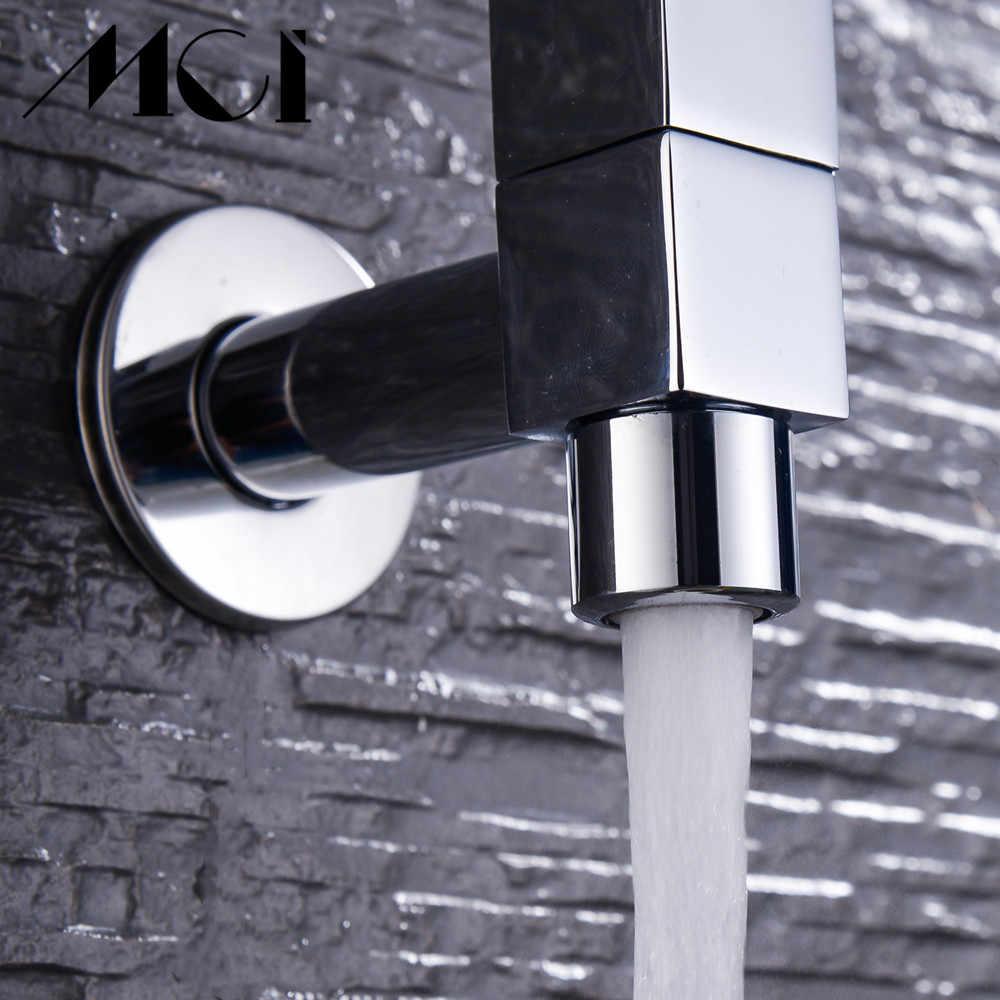 บ้านชุบทองเหลืองสระว่ายน้ำกลางแจ้ง Garden Sink ก๊อกน้ำเครื่องซักผ้า Mop ห้องน้ำติดผนังสแควร์ Tap Mci