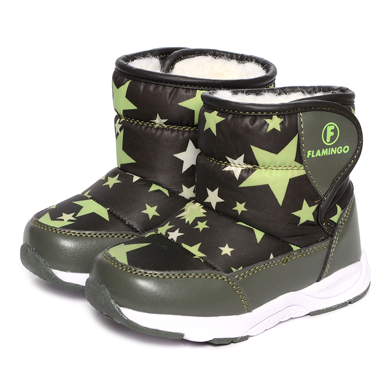 FLAMINGO Winter Waterproof Wool Warm Mid-Calf Hook& Loop High Quality Kids Shoe Anti-slip Size 22-27 Snow Boots for Boy W6NQ003 side zip buckle strap mid calf boots