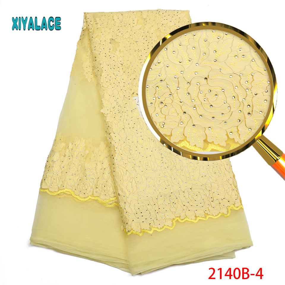 Nigerian Lace Fabric 2019 High Quality Lace Yellow African Lace Fabric With Stones Embroidery Lace Fabric