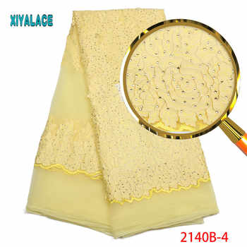 Nigerian Lace Fabric 2019 High Quality Lace Yellow African Lace Fabric With Stones Embroidery Lace Fabric For Weeding PGC2140B-2 - Category 🛒 Home & Garden