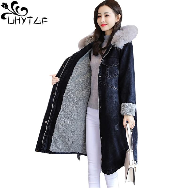 UHYTGF Fashion Winter Fox hair Hooded Warm Denim Jacket Women Loose Plus velvet Thicken lambswool Jeans