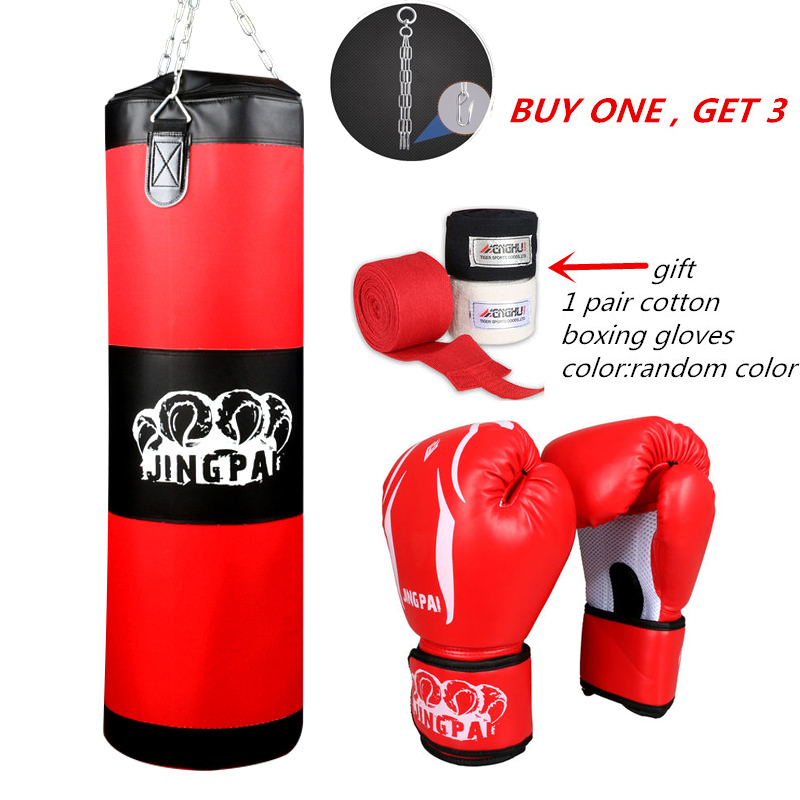 100cm Training Fitness MMA Fighter Boxing Bag Hook Hanging Bag Punch Punching Bag Sandbag (empty) With Boxing Gloves Hand Wraps authentic rdx inner hand wraps gloves boxing fist padded bandages mma gel thai
