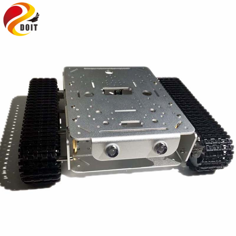 4WD Tracked Robot Smart Chassis with Aluminum Alloy Wheels/Frame 2 Motors for Modification Tank Model Robot Project RC Toy
