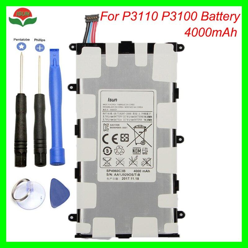 Original 4000 mah sp4960c3b bateria para samsung galaxy tab 2 7.0 GT-P3110 GT-P3113 p3100 p3110 p6200 p3113 com ferramenta