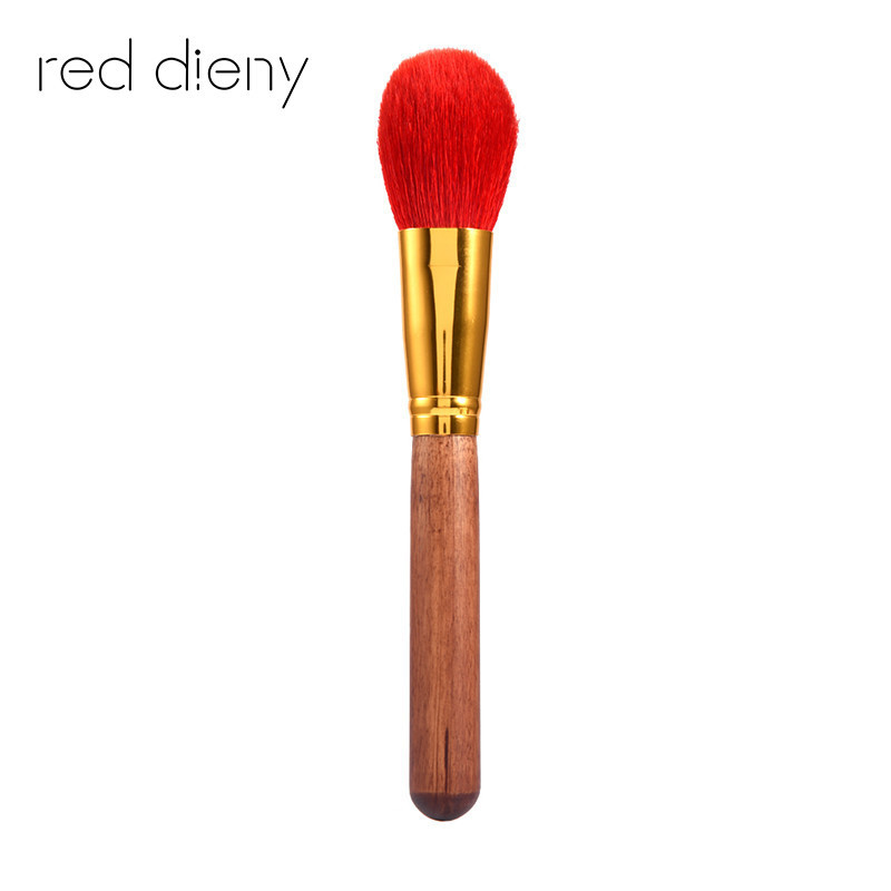 1 pcs Red Large Diffuser Brush with Soft Natural Bristles Makeup Brush Pen Blending Uniform Blusher Duo Fiber Stippling Brush