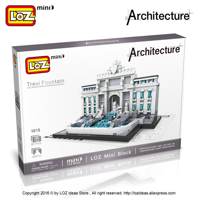 LOZ Mini Blocks Trevi Fountain Educational Model Kit Toys For Children Building Blocks Architecture Kids Assembly Toys DIY 1015