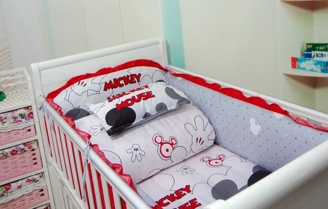 Promotion! 6PCS Baby bedding set Mickey Mouse girl crib bedding set 100% cotton baby bedclothes (bumper+sheet+pillow cover)