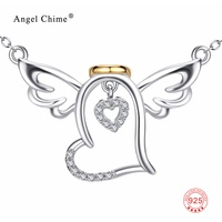 PYX0142 100 Real Pure 925 Sterling Silver Angel Wings Pendant Love Heart Cubic Zirconia Necklace Fashion