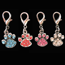 2pcs of charming dog paw-shaped rhinestones pendant