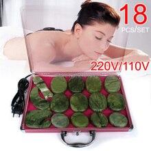 цены на High quality 18pcs/set jade body massage hot stone face back massage plate salon SPA with heater box 220V and 110V в интернет-магазинах