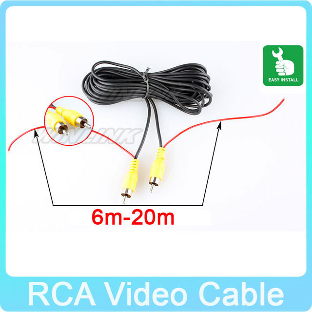 10M 12M RCA Car Reverse Rear View Parking Camera Video Cable with Trigger Wire For Connecting Car Monitor