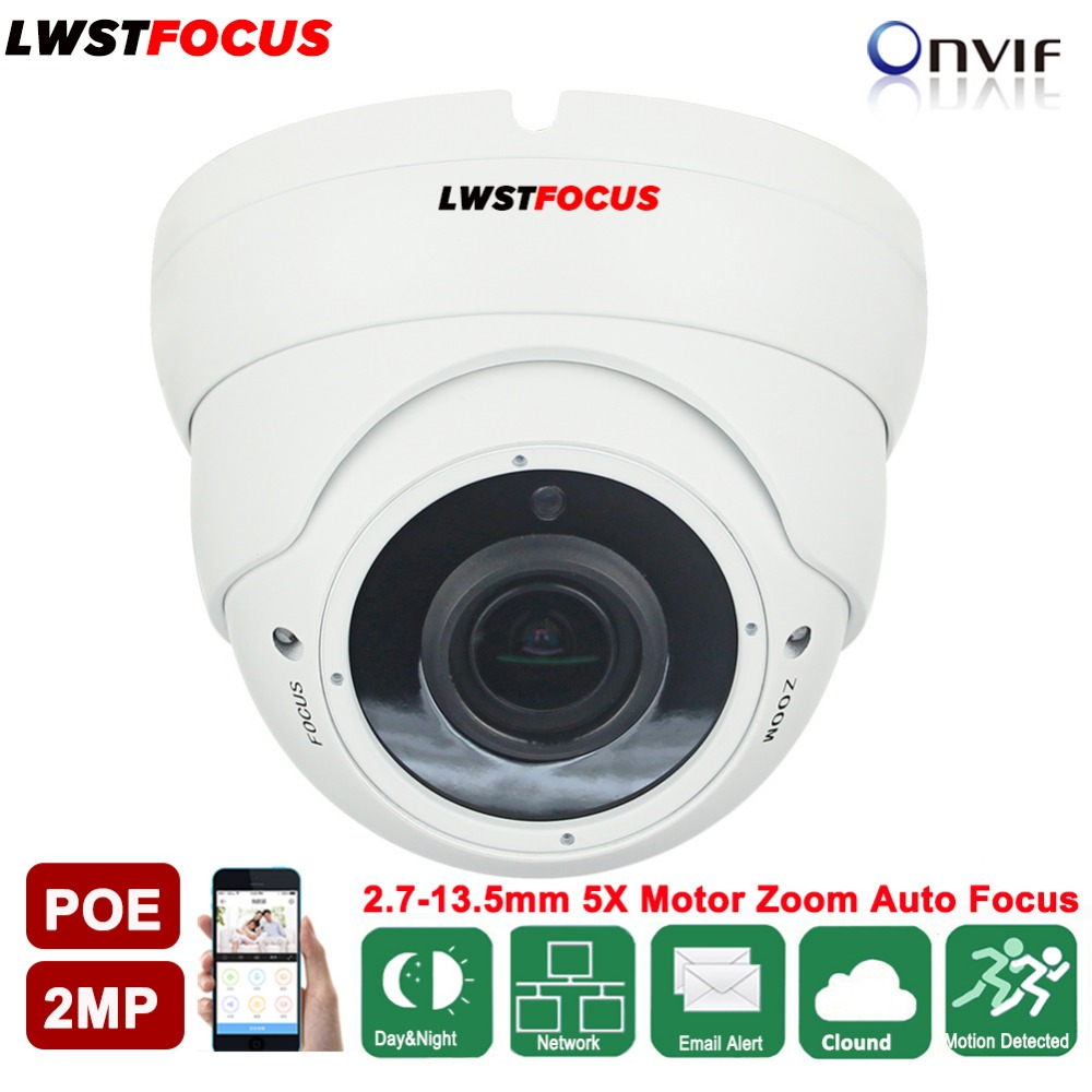 LWSTFOCUS Full HD 1080P 2.7mm-13.5mm Varifocal 5X Motorized Auto Focus Lens Network Camera 2MP IR 30M IP Camera POE CCTV Camera ds 2cd4026fwd a english version 2mp ultra low light smart cctv ip camera poe auto back focus without lens h 264