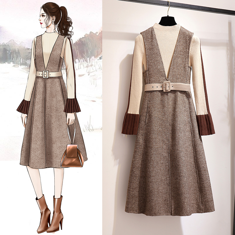 My2331 Coréenne Ensemble Dress Vêtements Robe Robes Élégante D'automne And Printemps Vintage Dress sweater Pull 2019 Pour Pièces Femmes Deux Femme FPZEHx