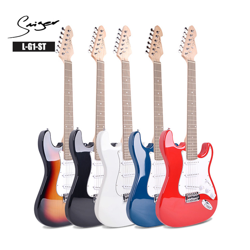 Smiger high quality 6 string electric guitar beginner student gift black/sunset color/white/blue/red five colors can choose
