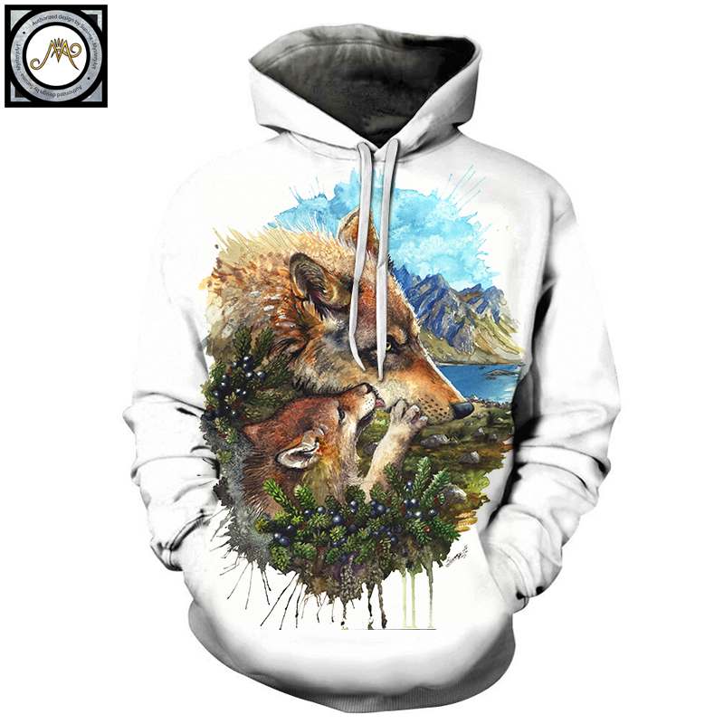 Wolf Cub Mother By Brizbazaar Art Unisex Hoodie 3D Print Sweatshirts Pullover Harajuku Mens Hoody Streetwear Coat for Autumn