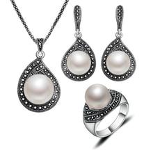 Joyería de Moda de la vendimia Gota de Agua Collar de la Plata Negro Rhinestone Y Perla de Imitación Joyería Conjunto Para Las Mujeres 2016
