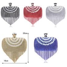 Tassel Rhinestones Clutch Beading Lady Evening Bags Diamonds Small Purse Chain Shoulder Handbags Wedding Party Evening Bag