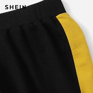 Image 5 - SHEIN Nhiều Màu Colorblock Áo Thun và Độ Tương Phản Sideseam Thể Thao Vòng Cổ Thiết Lập Phụ Nữ Mùa Thu Thanh Lịch Bảo Hộ Lao Động Twopiece