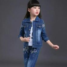 Children Girls Clothes Sets Spring Autumn Kids Long Sleeves Denim Coat +Pants Suits Print Flower Clothing Set for 10 12 14 years цены онлайн