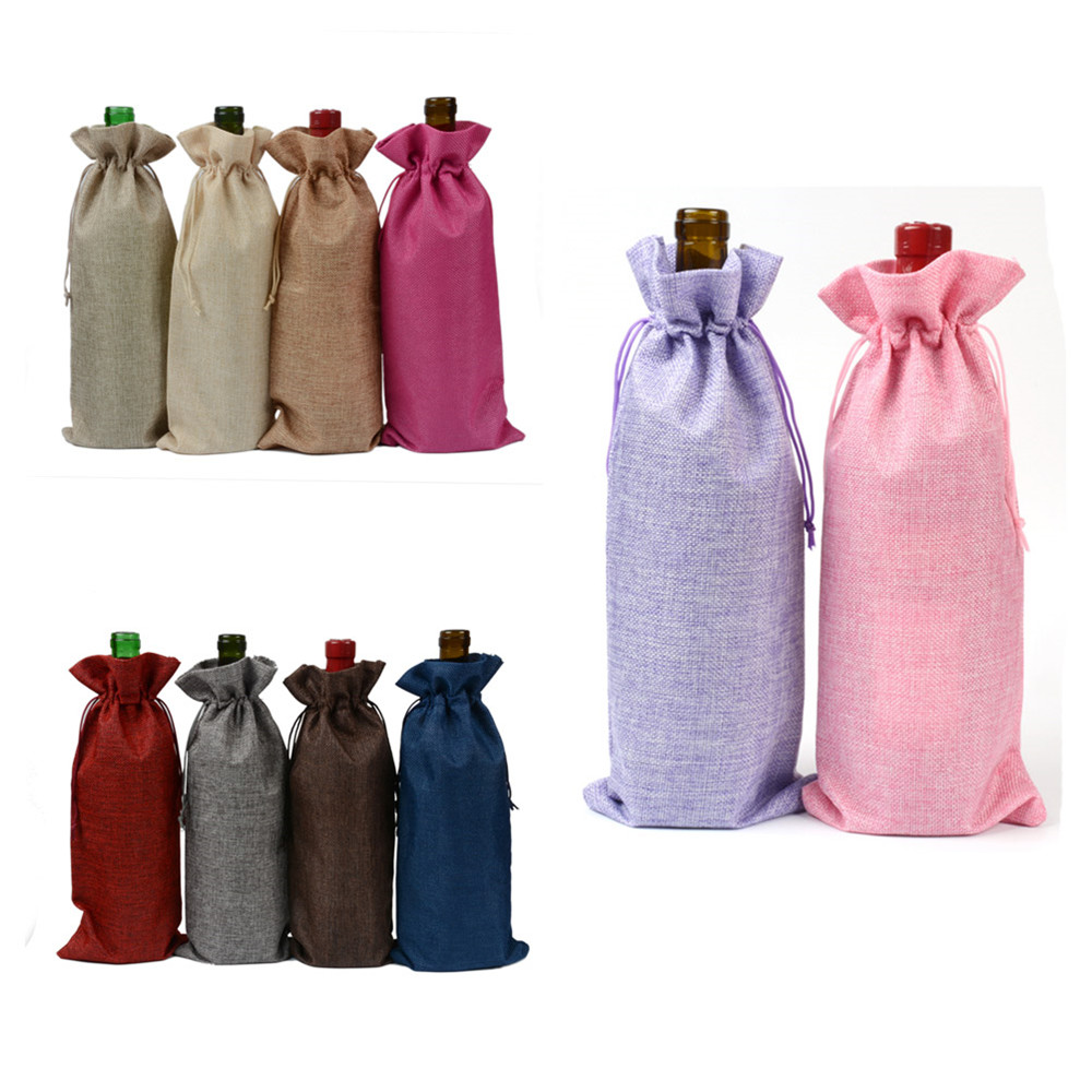 Jute Wine Bottle Bag Champagne Bottle Covers Drawstring Christmas Wedding Party Decorations Burlap Hessian Packaging Bag 15x35cm