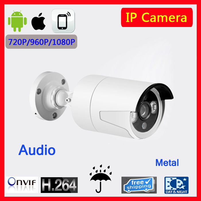 1080P  Mini Bullet Audio Microphone IP Camera ONVIF Waterproof Outdoor IR CUT Night Vision P2P Plug and Play with CMS software hd mini bullet ip camera onvif waterproof outdoor ir cut night vision p2p plug and play with poe