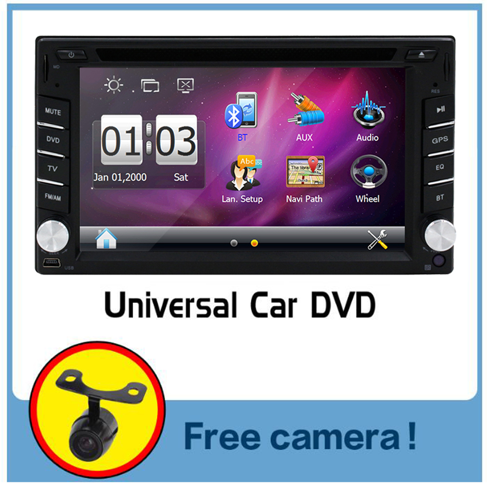 Camera+2 din car audio Wince GPS Navigation Bluetooth car dvd player in dash USB FM AM RDS car radio Aux multimedia Car monitor