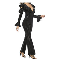 2019 Sexy Sparkly Ruffles Sleeve Sequins Jumpsuit Women Cut Out V Neck Bodycon Romper Black Glitter Party Club Overalls