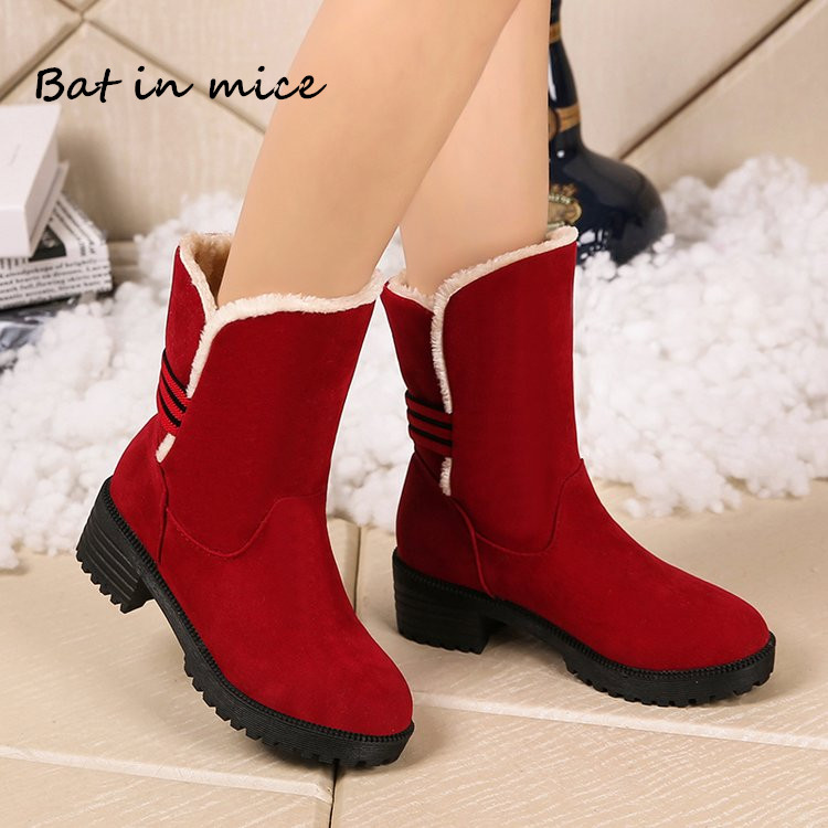 New Warm Fur Women Casual Snow Boots Flat Winter Platform Shoes women Female Round Toe Slip-On Mid-Calf Boots mujer botas W390 недорго, оригинальная цена