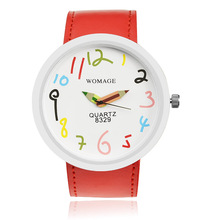 Fashion Casual Cute Pencil Watch Women Multicolor Digital Dial Watch Leather Band Quartz Watch Lady Gril Hour relogio masculino