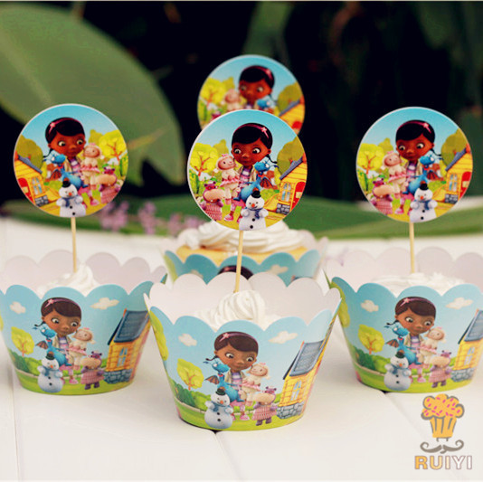 24pcs Party Decoration Wedding Cupcake Wrappers Favors Doc Mcstuffins cup Cake Toppers P ...