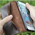 Natural verdadera del cuero genuino wallet case para iphone 7 6 6 s Plus Teléfono Celular Cubierta Del Tirón Retro de La Vendimia Mate/Aceite de Piel Cerrojo Imán