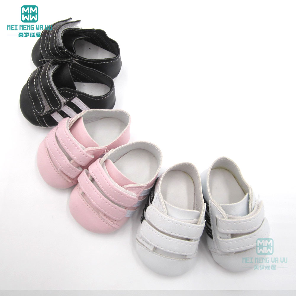7cm Mini baby white sports shoes sneakers for 43 cm toy new born dolls and american doll accessories