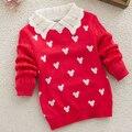 Клиренс осень мода девочка свитер хлопка трикотажные отложным воротником полный пуловеры детей свитер для девочки детская одежда
