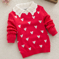 Folga outono moda bebê menina camisola de malha de algodão colarinho turn-down completo pullover crianças camisola para a menina roupa dos miúdos
