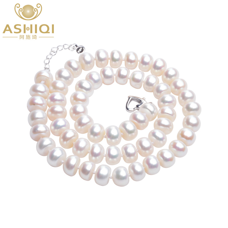 ASHIQI Real white Natural Freshwater Pearl Necklace Authentic semiround pearl jewelry for women gift