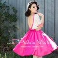 FRETE GRÁTIS Le Palais Vindima 2016 Verão Nova Polka Dot Halter Rosa Rosa Costura Arco Grande Vestido Mulheres Backless Magro Vestidos