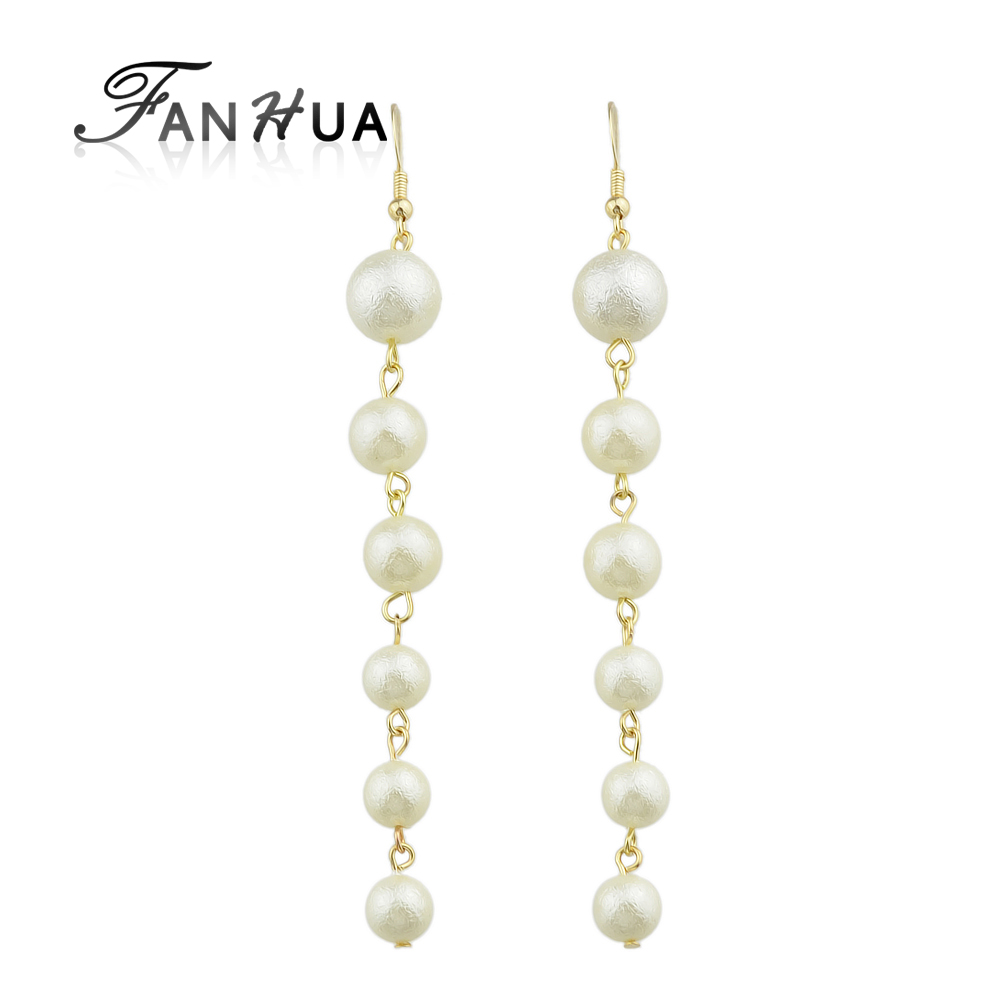 Fanhua Luxury Bride Earrings Gold Color Chain Long