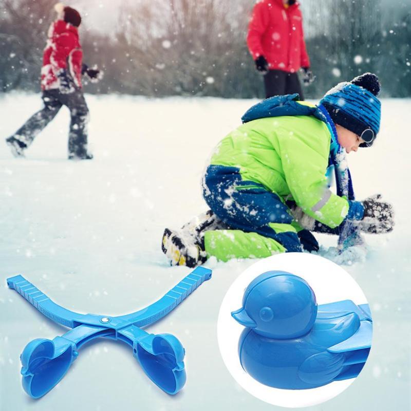 Winter Kids Snowball Maker Clip Cartoon Duck Snowball Snow Sand Mold Toys Snowman Making Tool Children Outdoor Sport Fight Toy