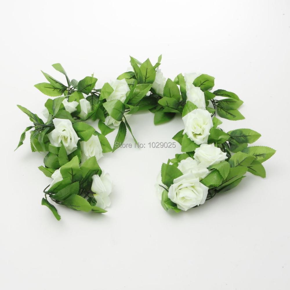 2pcs / bag - (Ivory color) 2.4m 인공 실크 장미 꽃 아이비 그린 리프 덩굴 화환 웨딩 화환 가짜 꽃 홈 데코