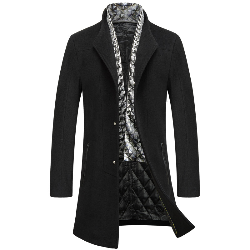 Warm Wool Coats Men's Winter Wool Jackets And Coats Mens Fur Collar Casual Single Breasted Thicken Male Woolen Coat Size M-3XL