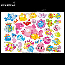 SHNAPIGN Cartoon Fish Child Temporary Body Art Flash Tattoo Sticker 10x17cm Waterproof Henna Fake Tatoo Car Styling Sticker