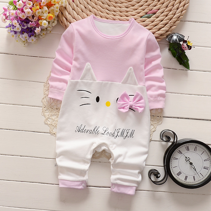 Baby Girls Clothing Cute Cartoon Newborn Kids Long Sleeve Cotton Rompers Toddler Boys Clothes Roupas Children Infantil Costumes 2017 new kids clothes girls kitty clothing minnie sets baby cotton costumes children girl pajamas set roupas conjunto menina
