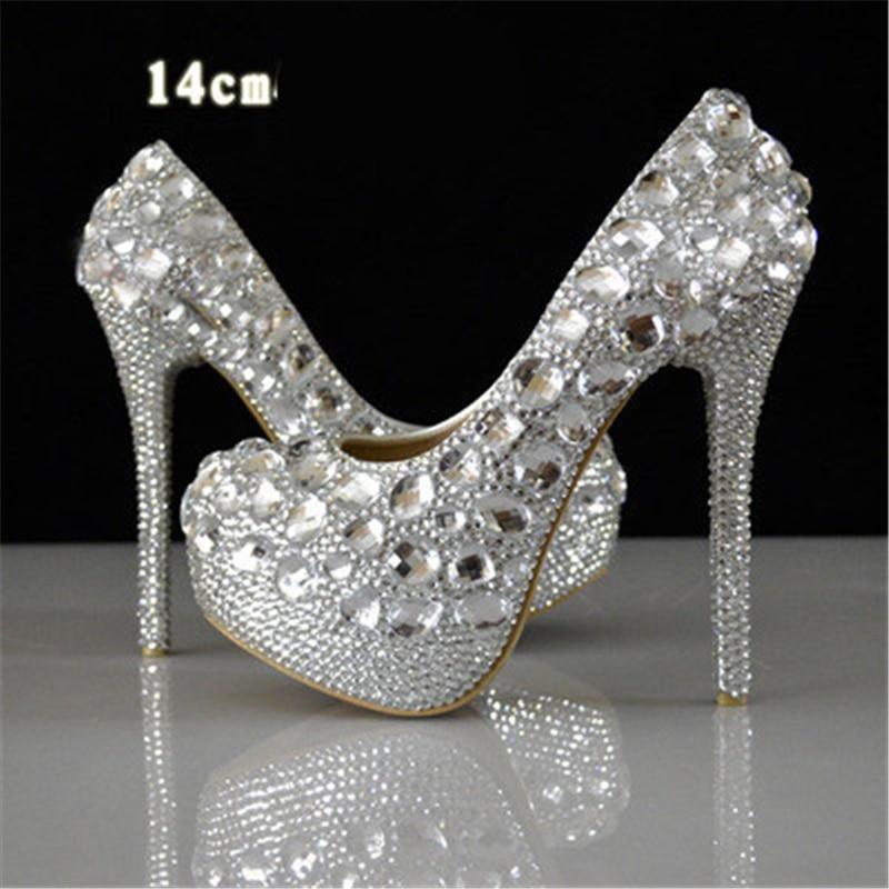 Women Rhinestone high heels Elegant wedding shoes Bling diamond high heeled Crystal Glass Shoes Plus size
